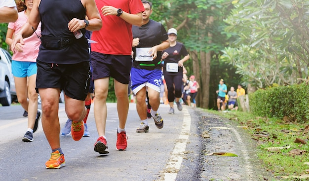 Marathon run,people are running on the road,people are moving Premium Photo
