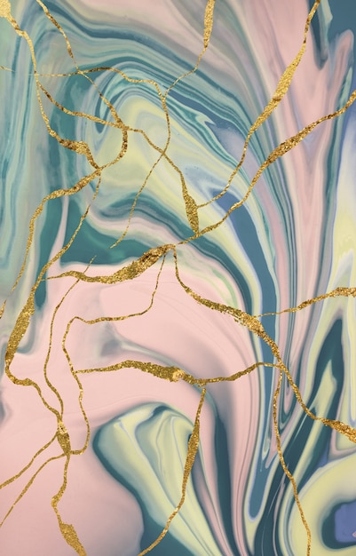 Marble pattern with gold cracks. abstract background. Premium Photo