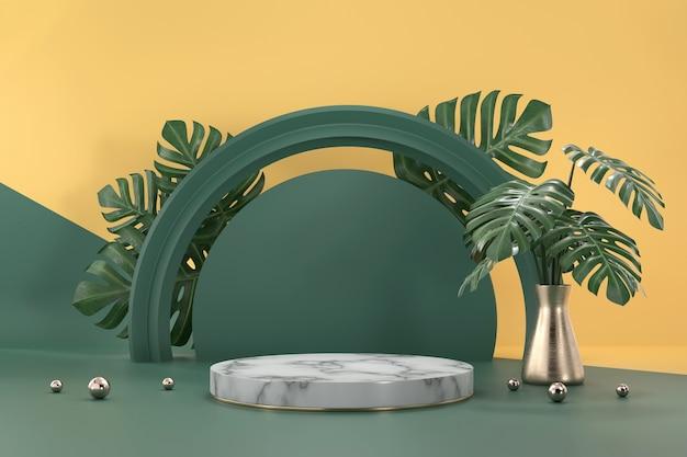 Monstera 잎 장식 3d 배경 렌더링 제품 디스플레이 쇼케이스 대리석 연단 프리미엄 사진