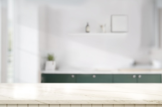 Marble table top in kitchen room Premium Photo