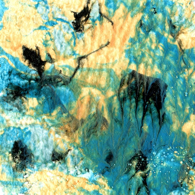 Marbled paper texture. handmade effect with acrylic paints. unique background Premium Photo