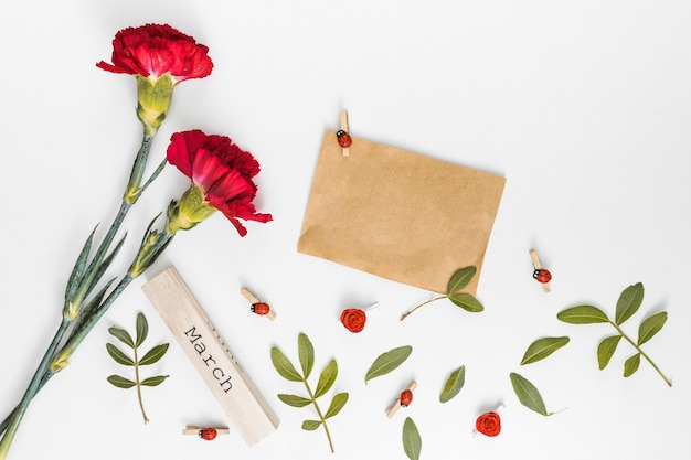 March inscription with carnation flowers and paper Free Photo