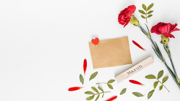 March inscription with red carnation flowers and paper Free Photo