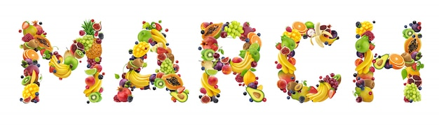 March word made of different fruits and berries Premium Photo