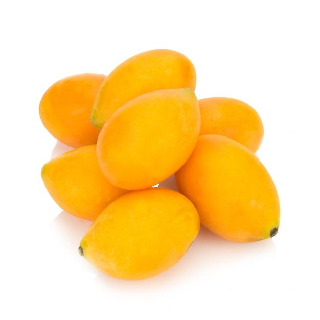 Marian plum thai fruit isolated. mayongchid. maprang. marian plum. plum mango Premium Photo
