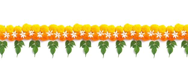 Marigold flower rangoli design for diwali festival Premium Photo