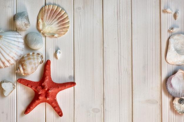Морские украшения - камни, ракушки и узлы - на светлых деревянных досках, пространство Premium Фотографии