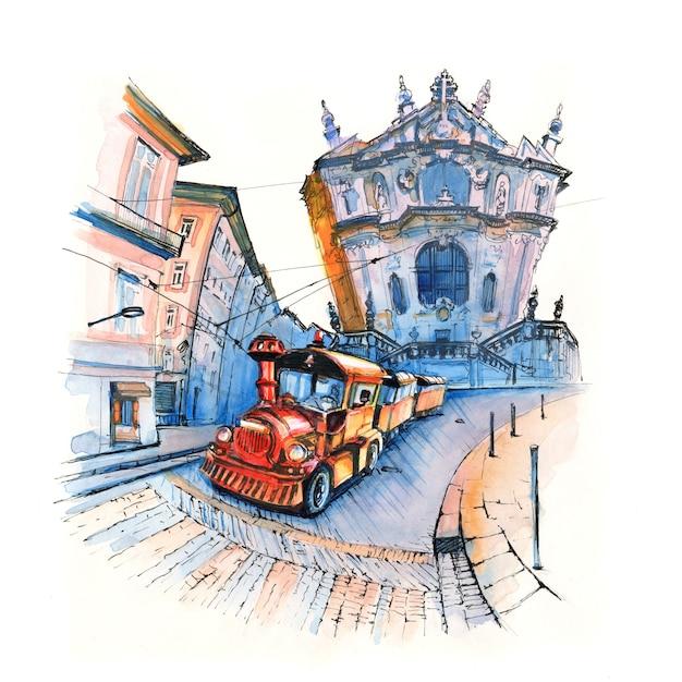 Marker sketch of tourist train near clerigos church, porto, portugal Premium Photo