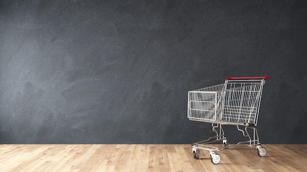 Market shopping cart on wall in room 3d rendering Premium Photo