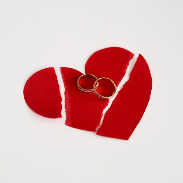 Marriage rings and paper heart broken Free Photo