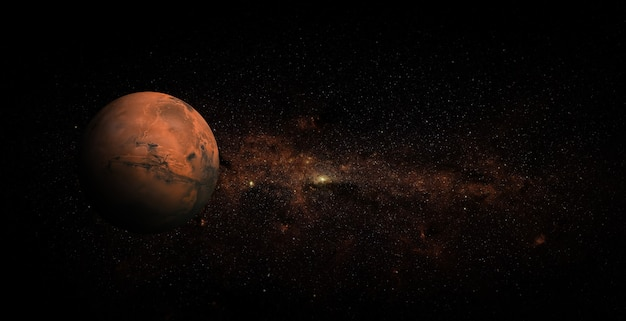 Марс на космическом фоне Premium Фотографии