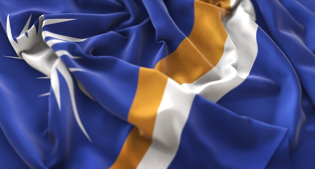 Marshall islands flag ruffled beautifully waving macro close-up shot Free Photo