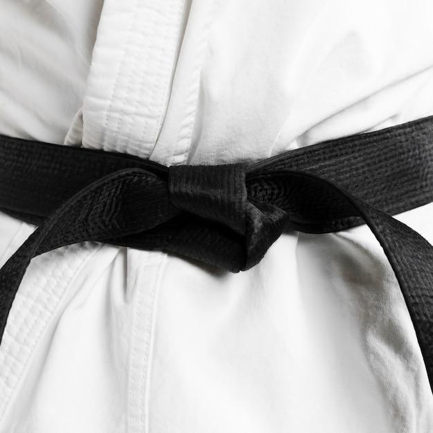 Martial arts of black belt close-up Premium Photo