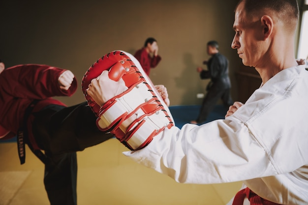 Martial arts fighters in different colors. Premium Photo