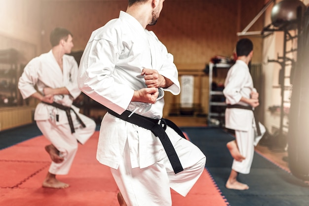 Martial arts fighters on workout in gym Premium Photo