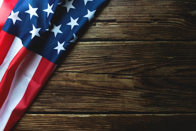Martin luther king day anniversary - american flag on wooden background Premium Photo