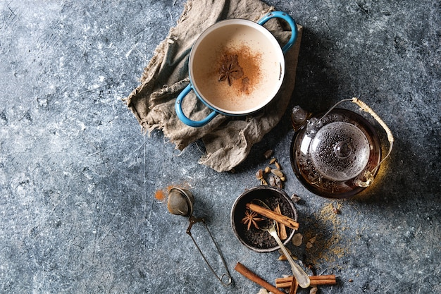 Masala chai with ingredients Premium Photo