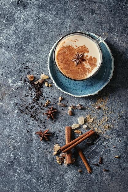 Masala chai with ingredients Premium Photo