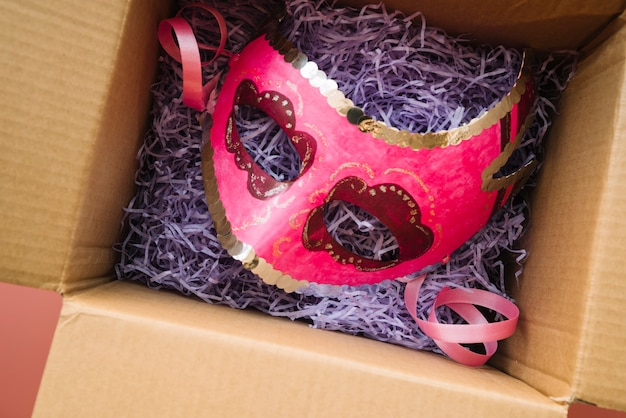 Mask placed in craft box Free Photo