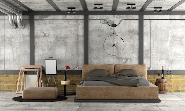 Спальня в мансарде Premium Фотографии