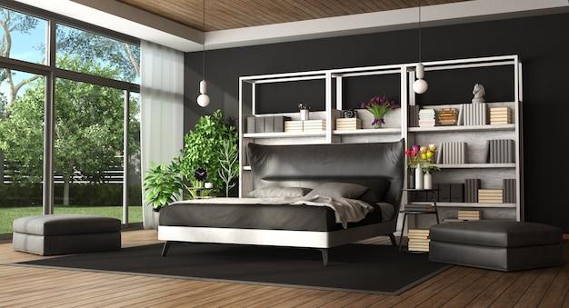 Master bedroom in a modern villa Premium Photo