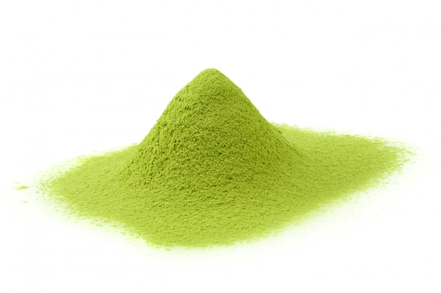 Matcha powder green tea isolated on a white background Premium Photo