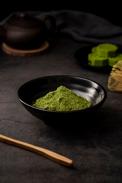 Matcha tea powder in bowl Free Photo