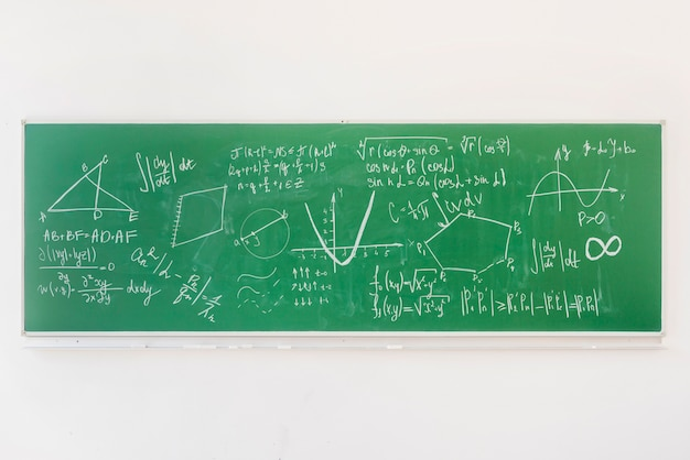 Math formulas on chalkboard in classroom Free Photo