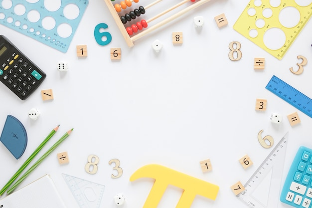 Mathematics with numbers and stationery items Free Photo