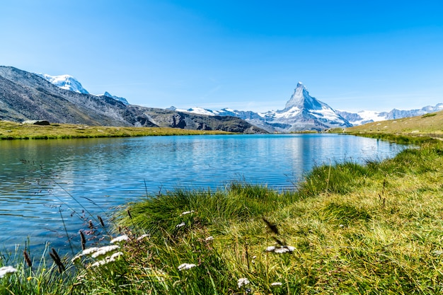 Matterhorn with stellisee lake in zermatt Premium Photo