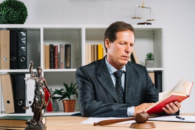 Зрелый адвокат, читающий книгу закона в зале суда Premium Фотографии