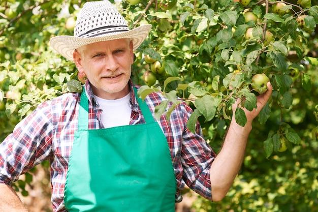 リンゴの木を持つ成熟した男性農家 無料写真