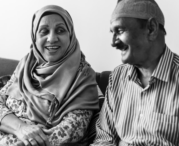 Mature muslim couple at home Free Photo