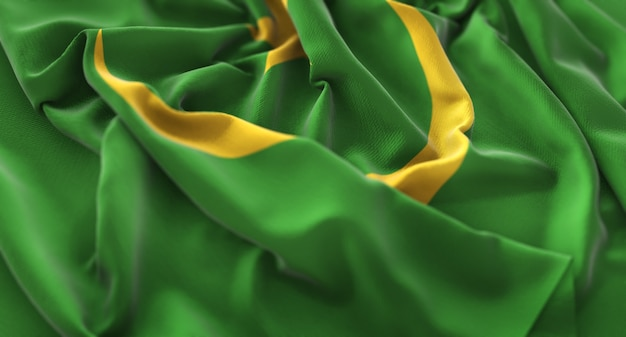 La bandiera della mauritania ha increspato splendente macro close-up shot Foto Gratuite