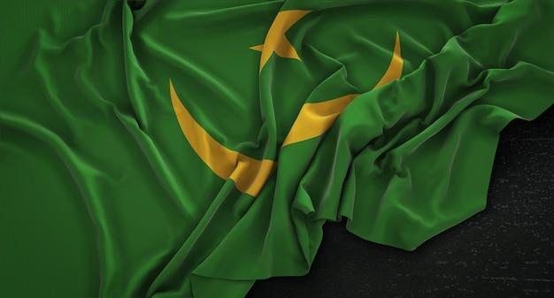 Bandiera della mauritania rugosa su sfondo scuro 3d rendering Foto Gratuite