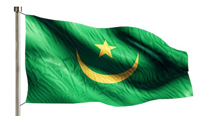 Mauritania bandiera nazionale isolato sfondo bianco 3d Foto Gratuite