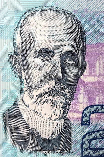 Mauro fernandez acuna portrait from costa rican banknote Premium Photo