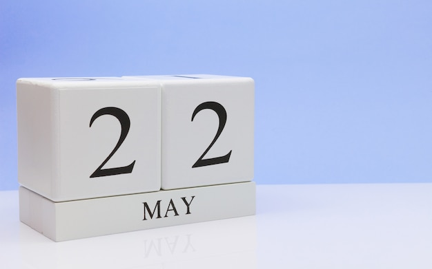 May 22st. day 22 of month, daily calendar on white table Premium Photo