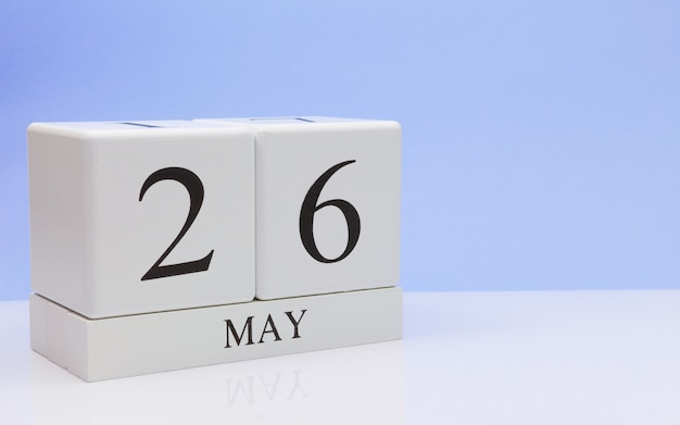 May 26st. day 26 of month, daily calendar on white table Premium Photo