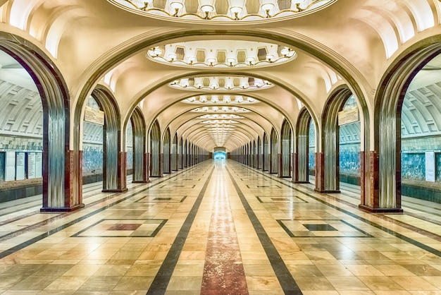 Mayakovskaya subway station in moscow, russia Premium Photo