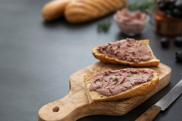 Premium Photo Meat Chicken Or Pork Liver Pate Sandwich Over Whole Grain Bread Slices