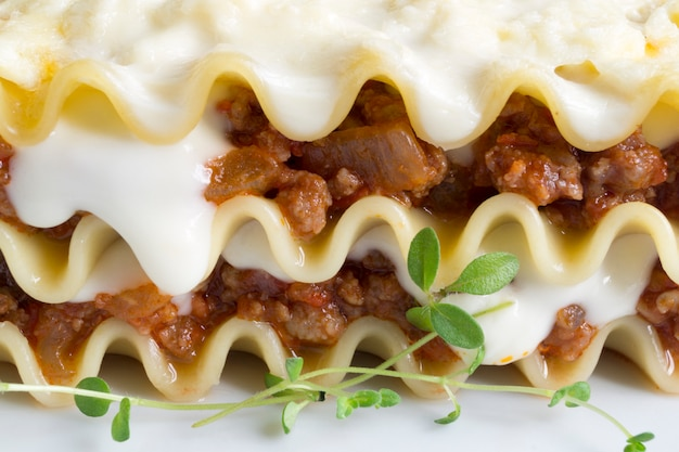 Meat lasagna on a wooden background. close-up. macro. Premium Photo