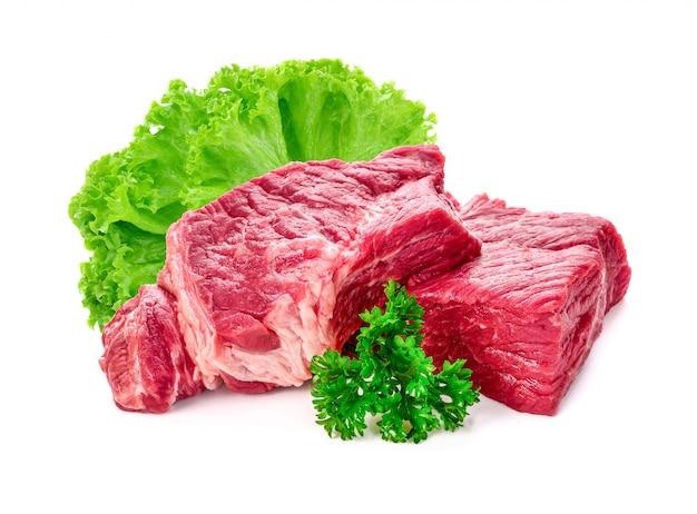 白い背景で隔離の肉豚 Premium写真