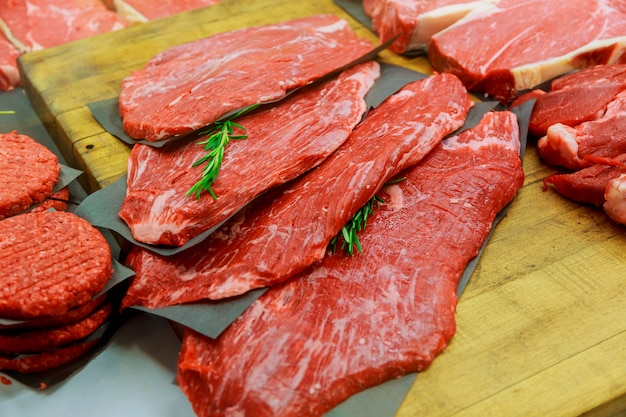 Meat products in in small butcher shop Premium Photo