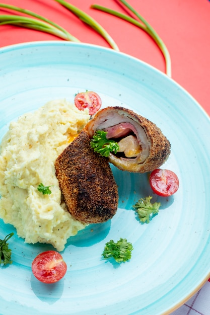 Meat rolls wih side mashed potatoes Free Photo