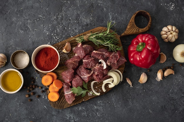 Meat with vegetables top view Premium Photo