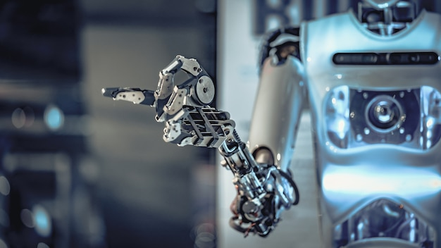 Mechanical robotic arm Premium Photo