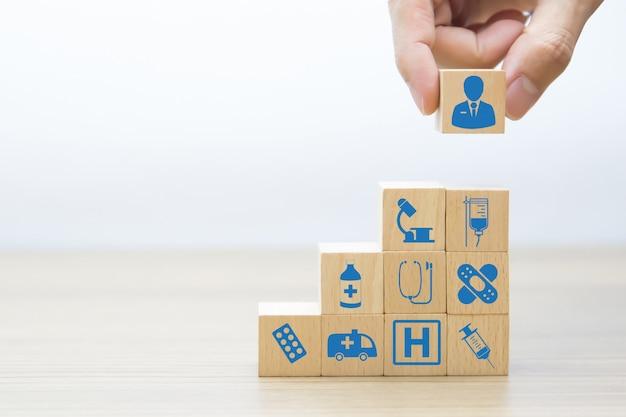 Medical and health wood block concept. Premium Photo