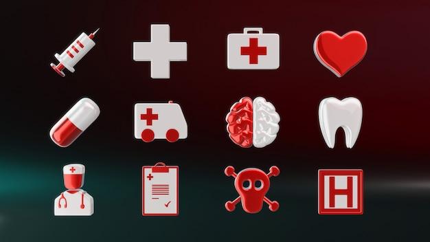 Medical icons - 3d illustration Premium Photo