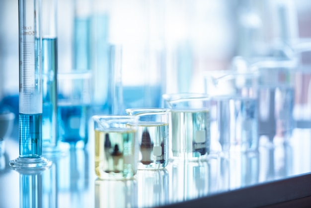 Medical laboratory test tube in chemistry biology lab test. scientific research and development Premium Photo